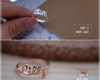 20% OFF / Font 17 / Personalized name ring -STERLING- 18K Gold -White gold -Rose gold- Silver plated and Brass - Valentine-Mother day gift.