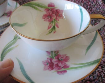 Noritake Karen Coupe Flat Teacup Saucer Sets 4 sets included. Use quantity button for 8 or 12 sets Very good  Noritake  China Galore