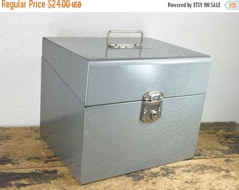 ON SALE Industrial Gray Metal File Box / Has Key / Storage Container