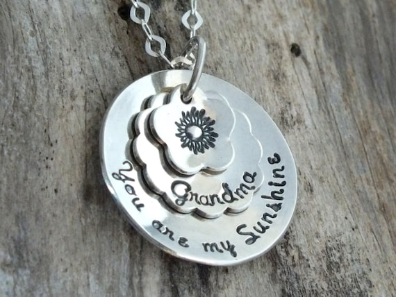 You Are My Sunshine / Sunflower Necklace / You Are My Sunshine Necklace / You Are My Sunshine Jewelry / Sterling Silver Mommy Necklace
