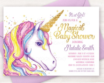 Baby Shower Invitation, Unicorn Invitation, Printable Unicorn Baby Shower Invite, Unicorn Party, Girl Baby Shower, Unicorn Shower Invitation