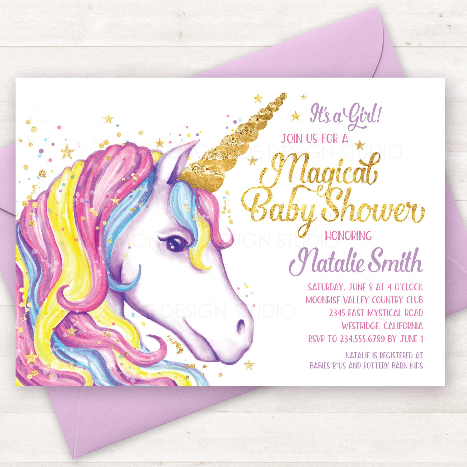 Baby Shower Invitation Unicorn Invitation Printable Unicorn