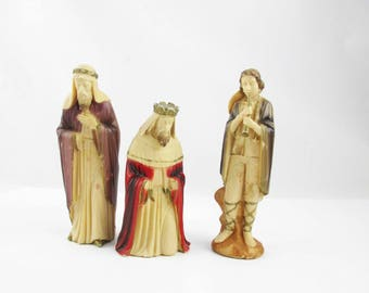 Three Nativity Pieces - Made in Hong Kong - Hand-painted Plastic - Two Wise Men - Musician - Tan Paper Base - Hollow Celluloid - Vintage