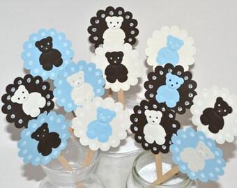 12 Blue Teddy Bear Cupcake Toppers / Teddy Bear Baby Shower / Bear Baby Shower Invitations / Teddy Bear Party Supplies /Teddy Bear Cake