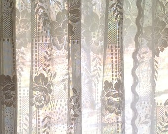 Vintage white purple flower lace valance 58w x 15l classic floral lace curtains with stylish attached valance 58w x mightylinksfo