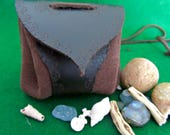 "Leather Medicine Pouch, Medicine bag, Amulet neck pouch. ""Coffee"""