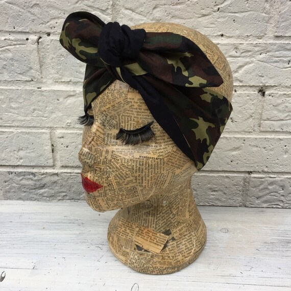 Camouflage  Headscarf Rockabilly 1950's Pinup Inspired