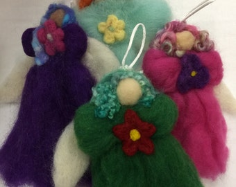 Needle felted angel Christmas ornaments pink green purple