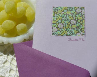 Floral Purple Card with Sweetie Pie Greeting, Art Nouveau, Retro, Boho, Blank