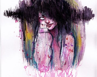 Abstract Horror Girl Painting