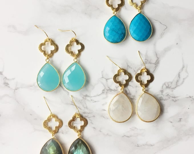 Large Gemstone Drop Earrings (Choose a Gemstone)