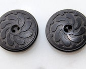 Vintage black Novelty Rubber Co.- embossed pinwheel pattern- 2 hole whistle buttons 3/4 inch diameter- late 1800's excellent condition