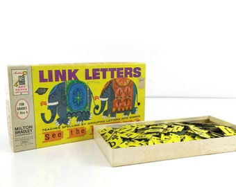 Link Letters - 1963 Spelling Game Milton Bradley - Teaching