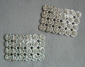 Pair Vintage 1970-80s Rectangular Rhinestone Shoe Clips