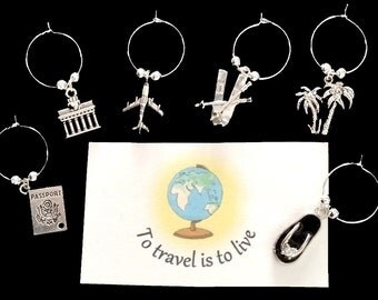 WINE CHARMS Holiday and Travel themed set of 6 with their own message card and organza bag