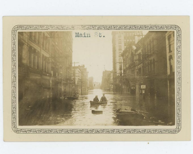 Set of 7 Photos: Wheeling, W. VA; March 1936 Flood, Ohio River Vintage Snapshots  (73555)