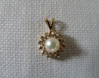 14K Gold Diamond and Pearl Pendant - .75 ctw Diamond and 7 mm Pearl