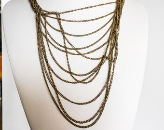 Brass Multi Strand Necklace    24 Inch   Matinee