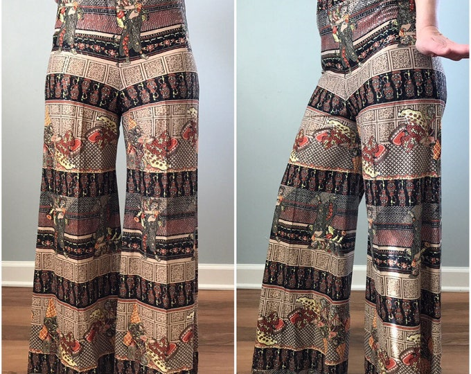 Vintage 70s Indian Print High Waisted Wide Legs