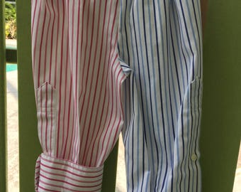 Size 6-9 mo. red, white and blue baby pants made from a man's shirt