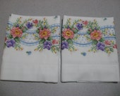 Handmade set of 2  Embroidery Pillow cases, Standard pillow cases, No Iron Muslin fabric, Flower embriodery pillowcases,