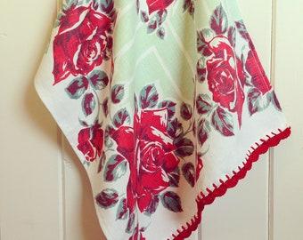 vintage red roses tea towel