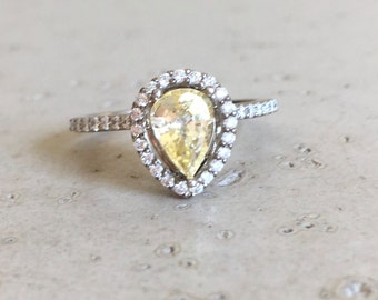 Yellow Sapphire Engagement Ring- Rose Gold Sapphire Engagement Ring- Pear Shape Sapphire Engagement Ring- Diamond Sapphire Promise Ring