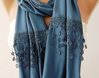 Navy Blue Scarf Christmas Gift Holiday Gift Scarf with Lace Edge Winter Women Fashion Accessories Christmas Gift For Her