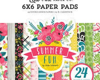Summer Fun Echo Park 6x6 Paper Pad - 24 Double Sided Patterned Cardstock sheets for Cardmaking and Scrapbooking