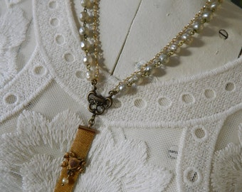 SALE 15% coupon code MARCH15  Antique Fob Assemblage Necklace by 58diamond Antique Fob on Pearls