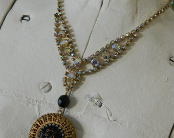 SALE 15% off with coupon code MARCH15 Vintage Locket on Vintage Rhinestone Necklace by 58diamond