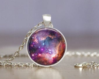 Galaxy 2 Necklace or Keychain Jewelry - 25mm - Space Nebula - Choose Finish & Length - Bronze Copper Gold Gunmetal Silver - Galaxy Jewelry