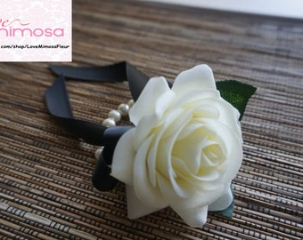Ivory Rose Wrist Corsage, Off White Rose with Black ribbon on pearl bracelet