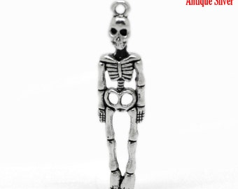 5 pieces Antique Silver Skeleton Charms