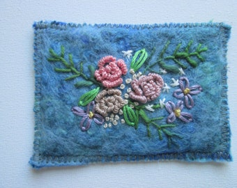 original textile aceo, felt with embroidered flowers.