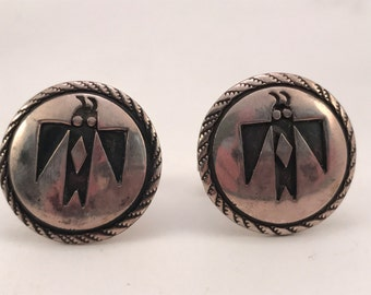 Vtg Coin to Sterling Hopi Cuff Links