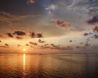Sunset Over the Keys - ocean photography, sunset photograph, Florida Keys, landscape, ocean art, home decor, wall art