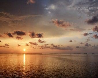 Sunset Over the Keys - ocean photography, sunset photograph, Florida Keys, landscape, ocean art, home decor, wall art