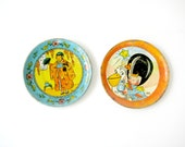 Ohio Art Tin Litho plates, tin toy plates, metal tea plates, Tin Litho toys, Little Soldier Wedding Plate, Tin Tea plate Japanese figure