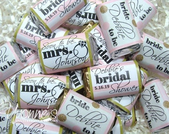 Bridal Shower Favors Mini Candy Bar Wrappers - Miniature Chocolate Favors - Soon-To-Be-Mrs. in Blush Pink and Gold - Wedding, Bachelorette