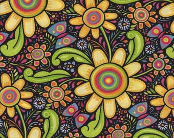 In the Beginning Fabrics, The Four Seasons, Summer Multi-Color Floral Print, 100% cotton