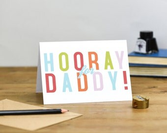 Hooray for Daddy Colourful Typography Father's Day Birthday Card