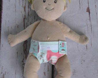 Doll Diaper-Handmade Diaper fits Baby Stella, Pottery Barn Doll other dolls-Elephant Splash Mint & Pink print diaper-Great for pretend play