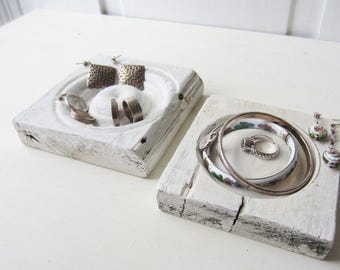 RESERVED Pair Bracelet / Ring / Necklace Jewelry Display Blocks - Distressed White / Off White - Recycled Architectural Salvage Bullseyes