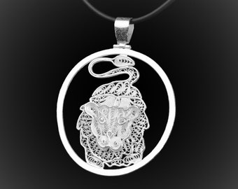 Embroidery of Silver Lion pendant