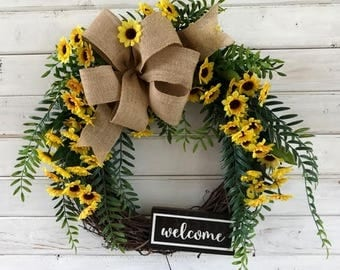 Summer Sunflower Front Door Wreath--