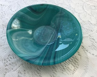 Fused Glass Bowl, Teal Blue White Art Glass Bowl, Teal Condiment Bowl, Trinket Tray