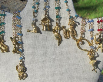 Vintage Charm with New Crystal Glass Rosary Chain--YOU CHOOSE ONE