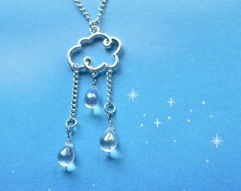 Biolojewelry - Meteorology Cloud Rain Drop Necklace
