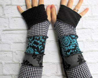 Fingerless Gloves - Teal Turquoise Aqua - Arm Sleeves - Gypsy Arm Warmers - Cotton Gloves - Boho - Hippie - Thankful Rose - Gift Ideas